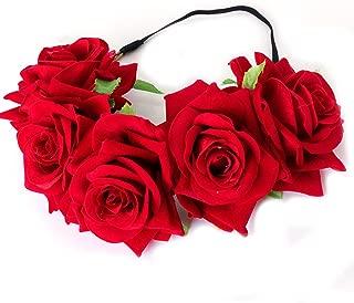 Floral Fall Rose Flower Crown Garland Festival Wedding Hair Wreaths Headbands F-32