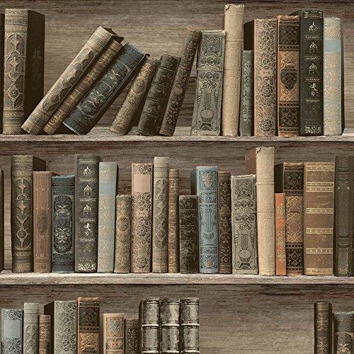 Muriva L32007 Classic Library - Papel pintado (12 unidades), diseño de Sepia