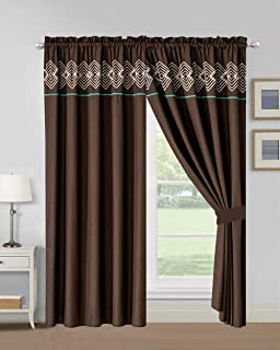 WPM WORLD PRODUCTS MART 4 Pieces Curtain Set: Coffee Brown Teal Color Luxury Embroidery Panels Drapes with tie Backs for Southwestern Navajo Room Windows- Makala