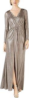 Adrianna Papell womens Long Sleeve Blouson Foiled Jersey Dress Formal Dress