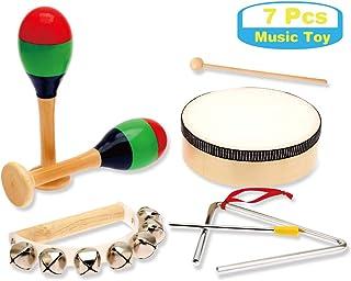 سازهای موزیکال کودکان چوب MUSICUBE ، مجموعه سازهای کوبه ای با طبل مخصوص کودکان و نوجوانان ، اسباب بازی های موزیکال Toddler Certified ASTM ، 7 قطعه