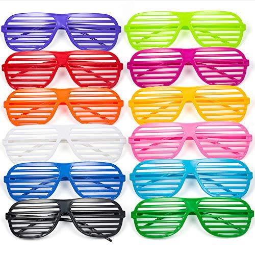 Comius 12 Pack Partybrille, Mode Shutter Shades Brille Gläser Sonnenbrille für Kostüm Party Club Tanz Props