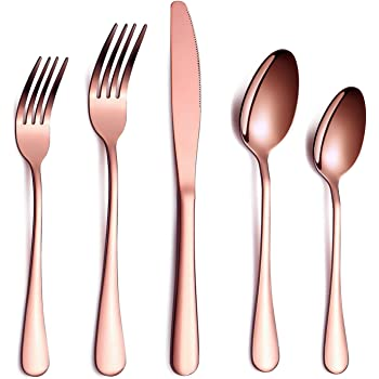 Rose Gold Flatware Set 20 Piece Service for 4, Copper Plated Stainless Steel Silverware set Service for 4 (Shiny, Copper)