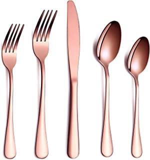 HOMQUEN Rose Gold Flatware Set 20 Piece Service for 4, Copper Plated Stainless Steel Silverware set Service for 4 (Shiny, Copper)