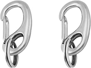 Divoti Pet Tag Quick Clip/Sping-Load Hook Combo for Pet ID Tags - Standard/Medium/Large/Split Ring Pack Options- Entirely sugrical Stainless Steel