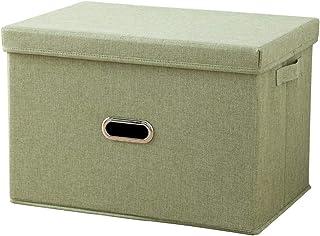 Boîte de rangement, panier de rangement pliant avec couvercle et poignée, bacs de rangement for vêtements, jouets sous le ...