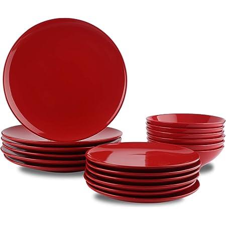 Amazon Basics Service de table 18 pièces en grès, pour 6 personnes, Rouge flamboyant