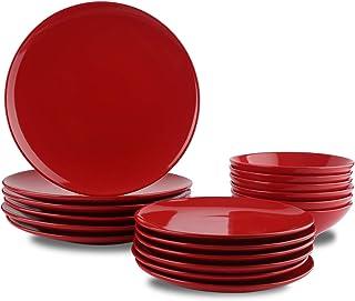 AmazonBasics Service de table 18 pièces en grès, pour 6 personnes, Rouge flamboyant