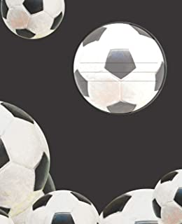 Black & White Soccer Ball player's Composition Blank Line School Notebook