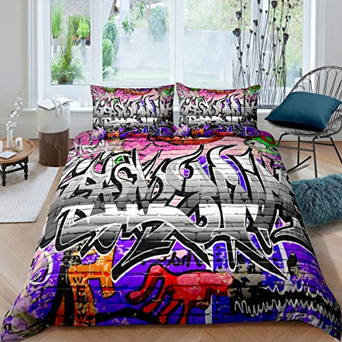 Boys Hippie Graffiti Style Bedding Set Teens Hip Hop Design Comforter Cover for Kids Youth Graffiti Duvet Cover Breathable Street Culture Theme Bedspread Cover Room Decor Quilt Cover Single Size