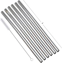 Prisha India Craft Eco-friendly Stainless Steel Plain Drinking Straight Straws, Best for Parties, Barware, | Set of 6 | Le...