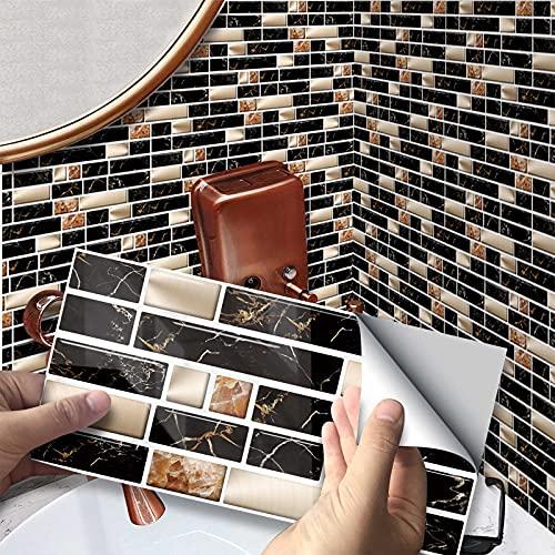 VIVILINEN 27PCS Pegatinas Autoadhesivas para Azulejos Pegatinas de Pared de PVC Impermeables Diseño de Azulejos de Cemento Decoración Adhesiva 20x10cm para Cocina Baño (Negro)