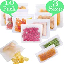 10 reusable food storage bags,Reusable fruit and vegetable sandwich bag,Preserving Food Container,PEVA Food Bag,Food Storage Set,for Cooking, Lunch, Snack, Sous Vide, Baby Food Prep(2L+6M+2S)