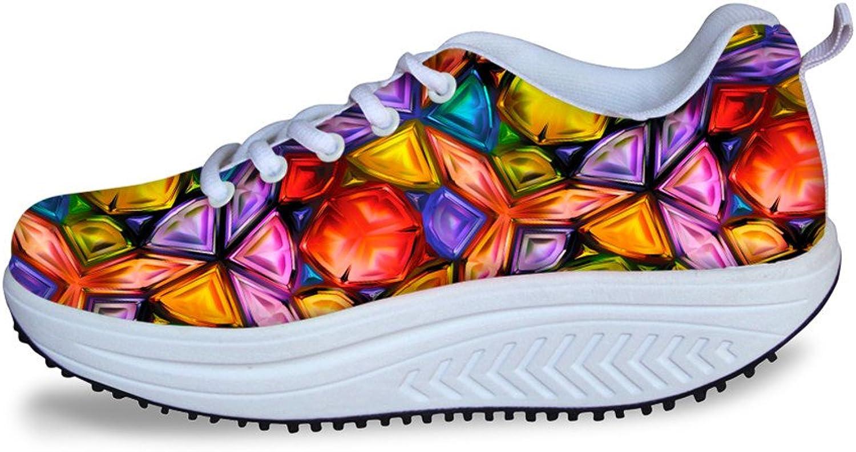 DeePrint Lace Ups Thick Heels Fitness Walking Sneaker Platform Walking shoes