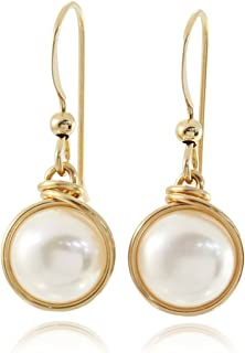 14k Gold Filled Earrings Hand Wrapped Cultured Pearls Wedding Jewelry Bridal or Bridesmaids Gifts, 8 Mm