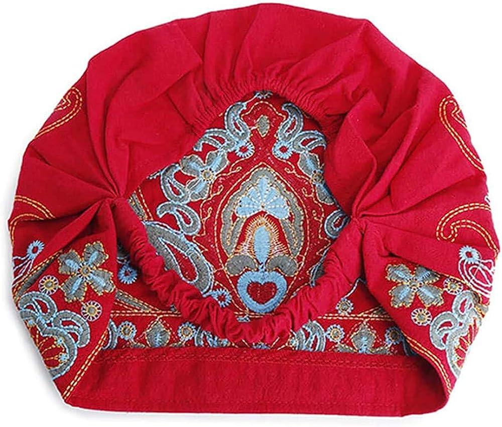 Floral Embroidery Ethnic Cotton Beanie Hat Vintage Elastic Turban Caps