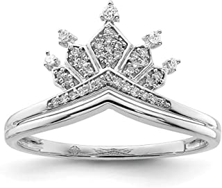 925 Sterling Silver Diamond Crown Band Ring Fine Jewelry For Women Gift Set