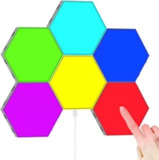 RGB Splicing Hexagon Lights (6 Pack), LED Touch Wall Lights, USB Charge Creative DIY Magnetic Attraction Geometry Lights, ...