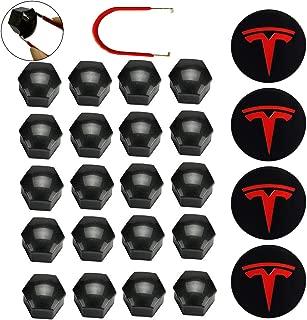KENPENRI Aero Wheel Cap Kit for Tesla 3, S & X - 4 x Aluminum Alloy Center Cap Set & 20 Wheel Lug Nut Cover - Red