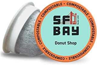 SF Bay Coffee Donut Shop 36Ct Light Roast Compostable Coffee Pods, K Cup Compatible including Keurig 2.0