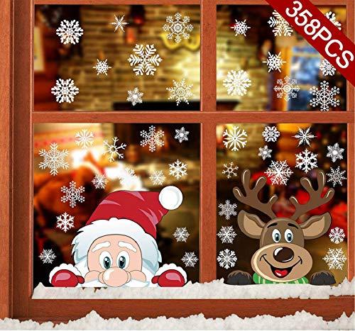 CMTOP 358 PCS Weihnachten Aufkleber Fenster Schneeflocken Weihnachtsmann Elch Fensterbilder Abnehmbare Statisch Haftende PVC Aufkleber für Weihnachts-Fenster Dekoration