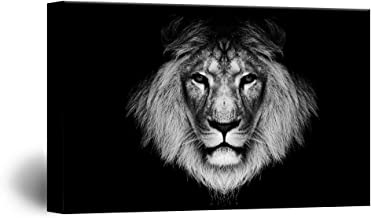 wall26 Canvas Wall Art - Lion Head on Black Background - Giclee Print Gallery Wrap Modern Home Decor Ready to Hang - 16x24 inches