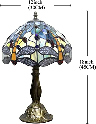57e1028bd475 Tiffany Lamp Sea Blue Yellow Stained Glass and Crystal Bead Dragonfly Style  Table Lamps Height 18