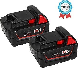 2Pack 4000mAh M18 Battery for Milwaukee 18V Lithium Replacement for Milwaukee XC 48-11-1840, 48-11-1815, 48-11-1820, 48-11- 1850 Lithium-ion Milwaukee 18-Volt Battery Batteries
