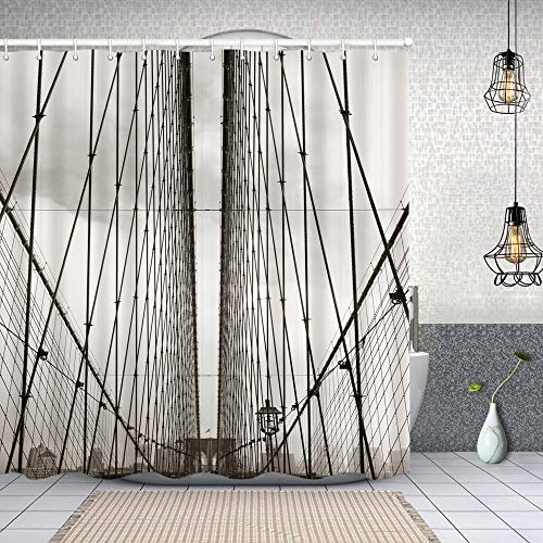 Waterproof shower curtain,Brooklyn Bridge Cables and New York City Downtown Skyline Photography Urban,printing bathroom curtains set with 12 hook 180x180cm