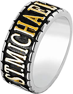 Men's St Michael Bands The Archangel Catholic Medal Stainless Steel Amulet Ring Size 7-13