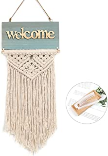 LAVAY Macrame Wall Hanging Welcome Tapestry Handmade Wood Welcome Sign for Front Door Woven Fringe Wall Pediments Boho Chic Party Decors Bohemian Wedding Backdrop 16.5