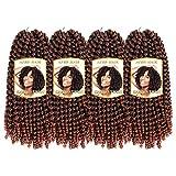 4 Pack Spring Twist Crochet Braid Bomb Twist Crochet Hair Braiding Ombre Colors Kanekalon Synthetic Fluffy Hair Extensions Low Temperature Fiber (12 Inch - 4pcs, T350)