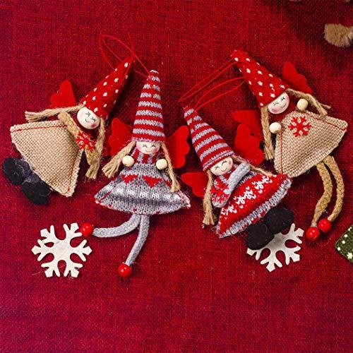 WYING Home Felpa Muñecas de Navidad Decoración, 4Pc Rojo Ángel Decoración Table Fiesta Arbol de Navidad Adornos