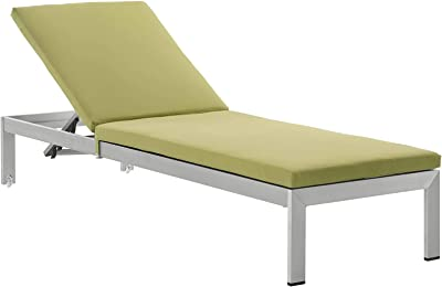 Modway EEI-4502-SLV-PER Shore Outdoor Patio Aluminum Chaise with Cushions, Silver Peridot