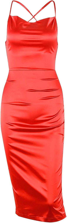 Fashion Ladies Casual Sleeveless Sexy Vest Solid Slim Long Silk Dress