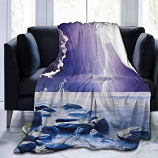 dsdsgog Soft Blanket Queen Nature,Dark Ominous Rain Clouds with Mystic Sky Scenery with Electrical Thunder Photo,Blue Purple,60