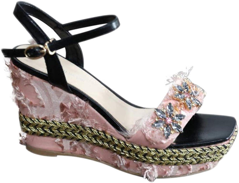 Damen Keile Sandalen plattform knöchelriemen Komfort Sommer böhmischen böhmischen böhmischen Strass quaste eine Taste Wasserdichte plattform plattform Schuhe  debca0