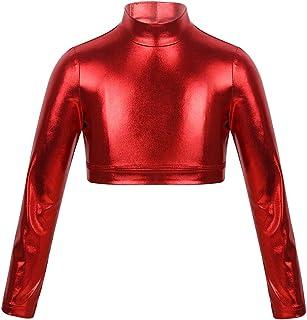 YiZYiF Top Corto de Yoga Ballet para Ni/ñas Tank Top de Baile Gimnasia Camiseta Deportiva El/ástica Manga Larga Ropa de Deporte Slim Fit Jogging