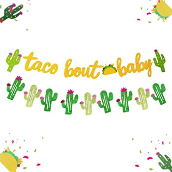 Amazon Com Jevenis Set Of 2 Taco Bout A Baby Banner Taco Bout A Baby Shower Fiesta Baby Shower Banner Cactus Baby Shower Decor Fiesta Baby Shower Decorations Toys Games