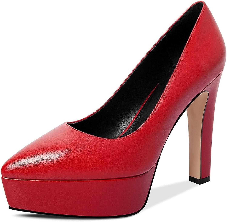 JE schuhe Wasserdichte Plattform High Heels Flachen Mund Wies Schuhe mit Einem Einzigen Schuhe Europa und Amerika (Farbe   Rot, Gre   38)