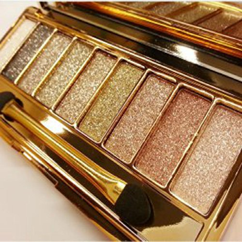 Sparkle Eyeshadow Palette&9 Colors Shimmer Makeup Palette & Makeup Cosmetic Brush Set &Gold Glitter Eyeshadow Palette Highly Shining Pigmented Diamond Eyeshadow&9 Color Eyeshadow 6# (1pc)