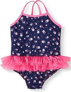 Toddler Girls Floral Print Wow-Ease Magnetic Closure Rashguard Tutu Swimsuit Purple/Pink (4T)