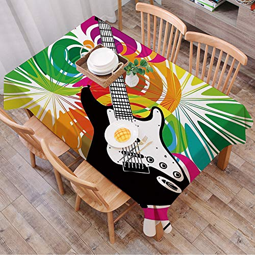Rechteck Tischdecke140 x 200 cm,Popstar Party, Bunter abstrakter Blumenrahmen mit E-Gitarre Energetisch,Couchtisch Tischdecke Gartentischdecke, Mehrweg, Abwaschbar Küchentischabdeckung für Speisetisch