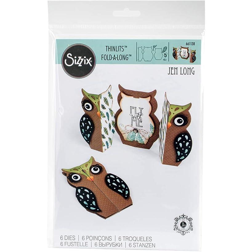 Sizzix 661138 Card Owl Label Fold-a-Long Thinlits Die Set by Jen Long (6 Pack)