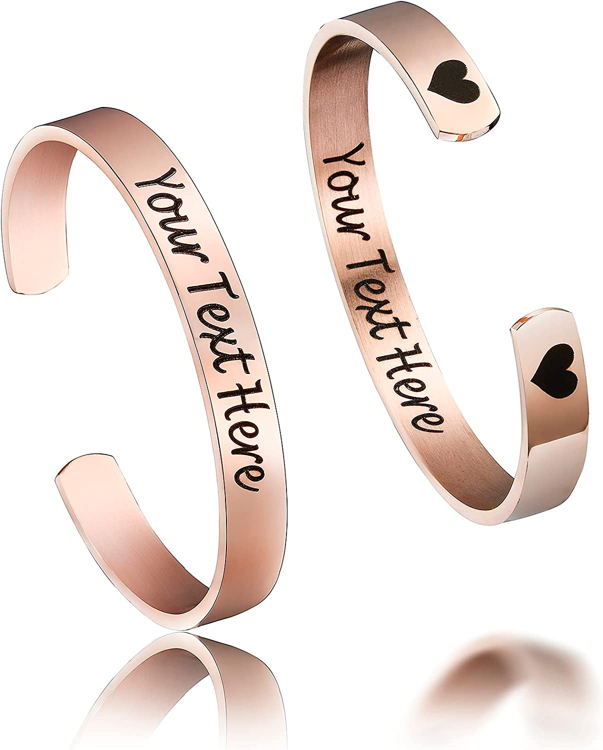 Personalized Stainless Steel Mirro Polished Cuff Bracelet For Women- Free Engraving Bangle For Girls