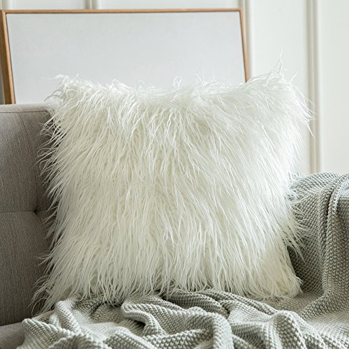 Pack of 2 Faux Fur Throw Pillow Cover with Invisible Zipper Fluffy Cushion Cover for Home Bedroom Living Room Light Gray, 18 x 18 Ewolee Decorative Plush Pillow Cover