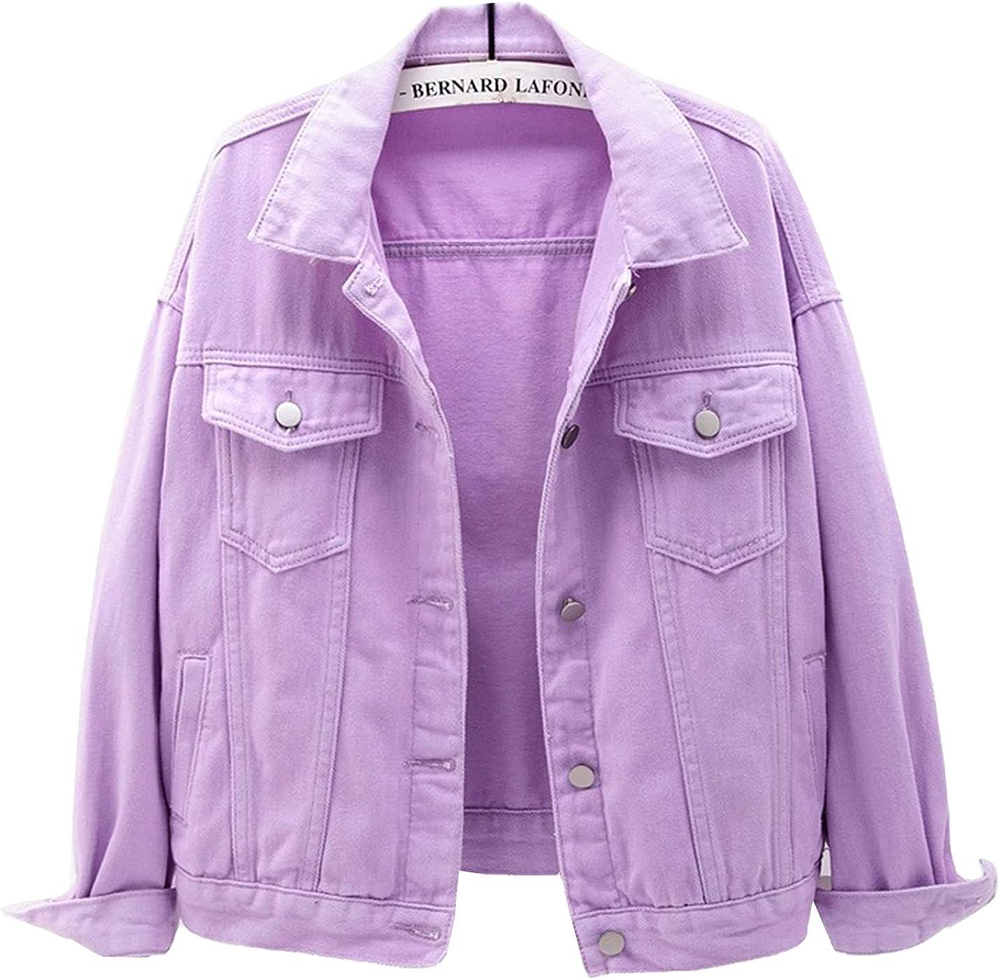 PEHMEA Women's Casual Long Sleeve Lapel Boyfriend Denim Jackets Button Down Jean Coat