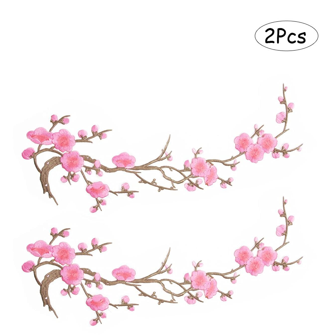 Comidox Blossom Flower Applique Clothing Embroidery Patch Sticker Iron On Sew Cloth DIY Decoration Patch Pink 2pcs