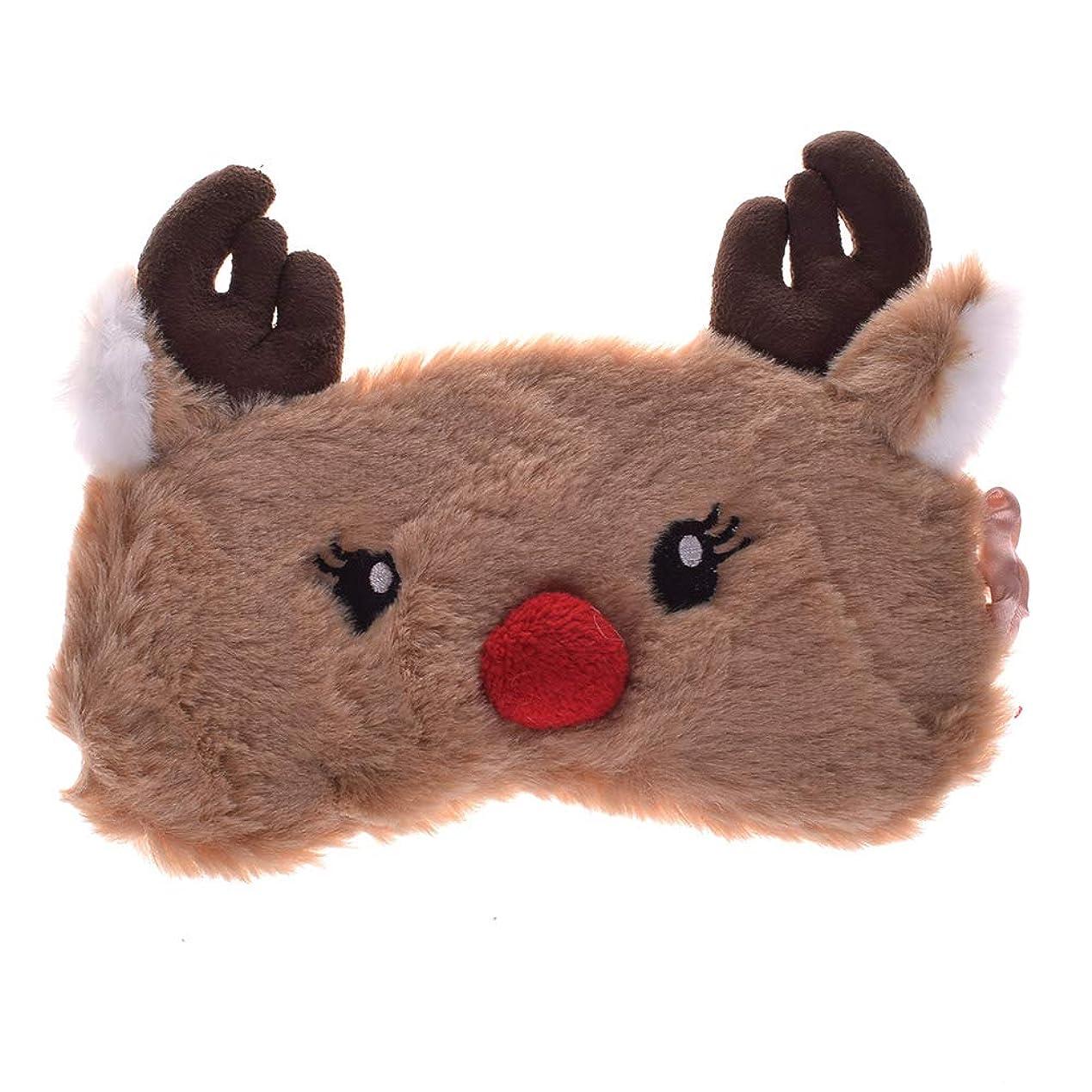 熱狂的なヒュームピアNOTE クリスマス鹿かわいいアニマルアイカバーぬいぐるみ布睡眠マスクアイパッチ冬漫画昼寝アイシェード用クリスマスギフト