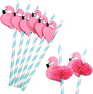 Flamingo Paper Straw Decorations, 50 PCS Disposable Cocktail Drinking Straws Decorative for Party Table Décor Luau Party